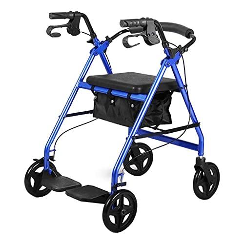 ZLQBHJ Standard Walkers, Rolling Walkers, Heavy Duty Upright Walker, Bariatric Stand Up Rollator Walker with Extra Wide Padded Seat & Backrest, Blue