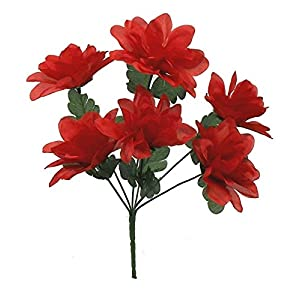 1 Bouquet of 6 Dahlia Wedding Bouquet Fake Faux Artificial Silk Flowers Red