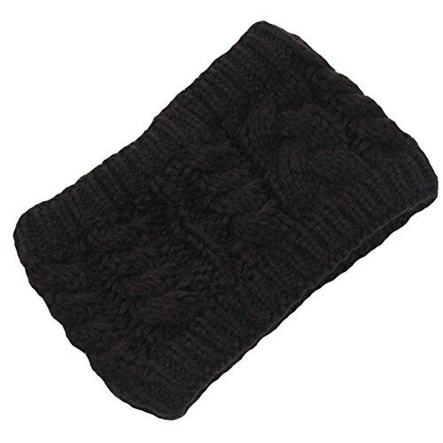 Les filles d'hiver tricoté bandeau tressé oreille plus chaud, Noir