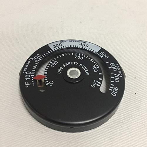 Holzofen Hochtemperatur-Kaminregler Kaminmechaniker Thermometer Sichere Abgastemperatur (Farbe: schwarz)