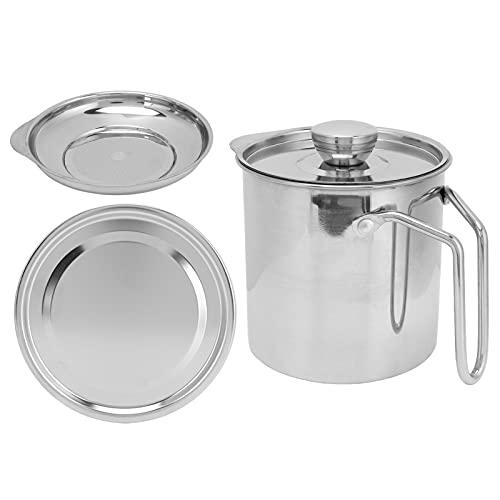 Colador de grasa, tanque de almacenamiento del separador de aceite, olla de filtro de aceite de acero inoxidable con asa, recipiente de grasa de cocina para cocinar aceite para freír(S)