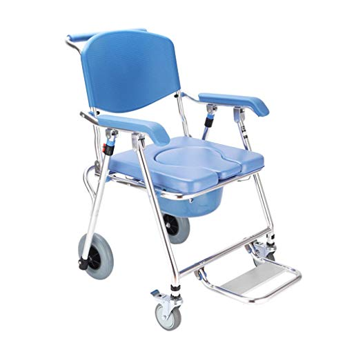 4 in 1 Toilet Chair Transport Wheelchair,Mobility Durable Waterproof,Commode Padded Cushion Portable Bedside Commodes Shower Bath Chair with Wheel for Elder Disabled Pregnant Women B