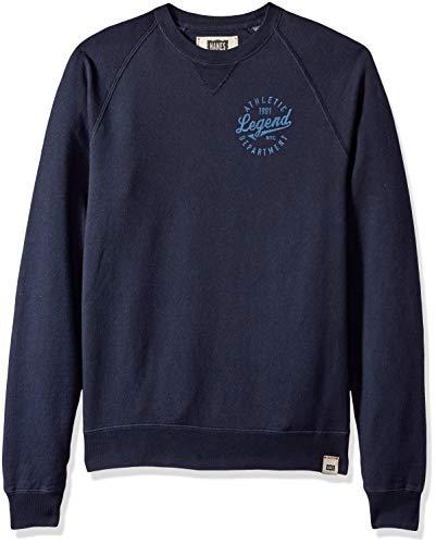 Hanes Men's 1901 Heritage Graphic V-Notch Raglan Sweatshirt, Legend/Navy, Large