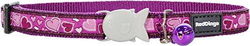 Red Dingo Breezy Love gemustertes Katzenhalsband, 12mm, für einen Halsumfang von 20–32cm, Violett