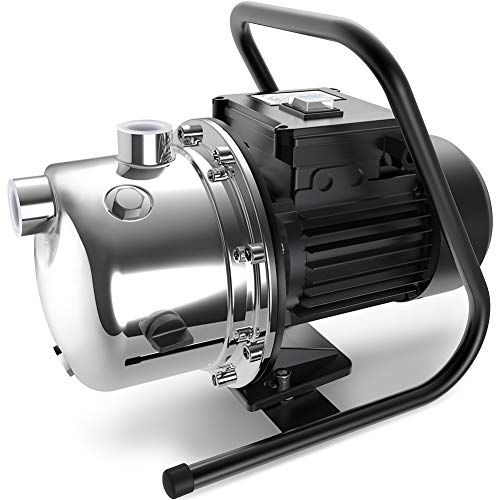 Lanchez 1.6 HP Shallow Well Jet Pump Portable Stainless Steel Water Transfer Draining Irrigation Pump with Pressure Gauge for Clean Water