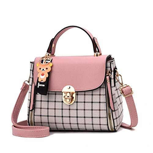 YIXIN Damen Handtasche Mode Schultertasche Damen Nähte Handtasche Kariert Platz Messenger Bag Kawaii Ledertasche Lässig Shopper Citytasche