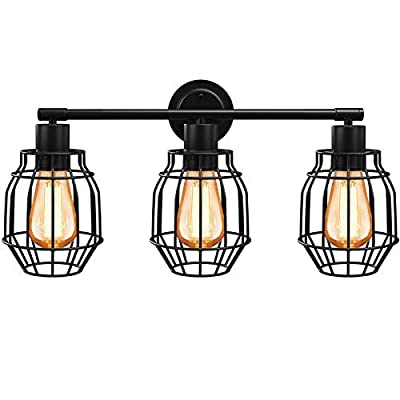 Industrial Bathroom Vanity Light Fixtures Wall Mounted, 3-Light Farmhouse Wall Light, Vintage Wall Sconce Lighting with Black Metal Birdcage, Anti-Rust Wall Lamp for Mirror Cabinets, Powder Room