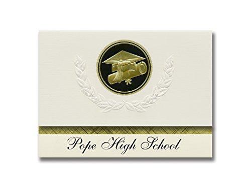 Signature Announcements Ankündigung für Papst High School (Marietta, GA), Schulabschluss, Presidential Style, Basispaket mit 25 Kappen und Diplom-Siegel, Schwarz/goldfarben