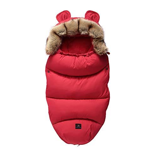CCFCF Luxus Winter Baby Schlafsack Für Kinderwagen mit Fell, universell Fußsack fussack für Kinderwagen Buggy,Rot,M