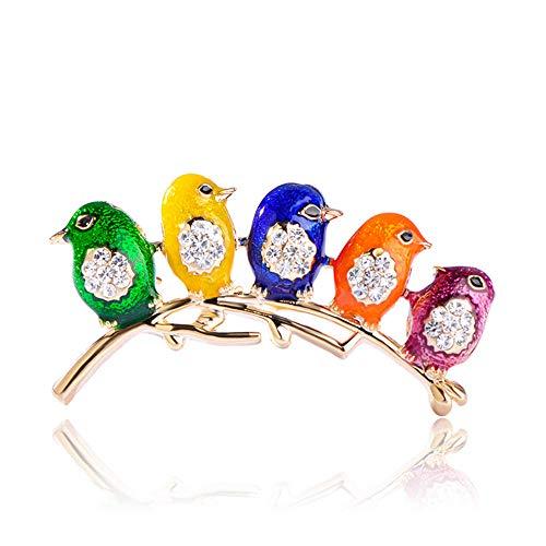 Kleurrijke vijf schattige vogels kristallen emaille sieraden voor meisjes kinderen sjaal schouder pak kraag corsages broches