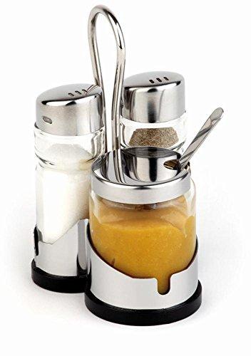 APS 40457 ECONOMIC Salz / Pfeffer / Senf Menage mit Edelstahlrahmen, Glas Streuer mit Edelstahl-Abdeckungen, 8 x 8 x 12 cm