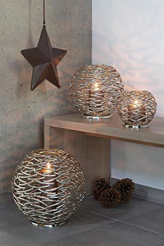 Fink - Corona - Windlicht - Kerzenhalter - Metall vernickelt Ø 26 cm
