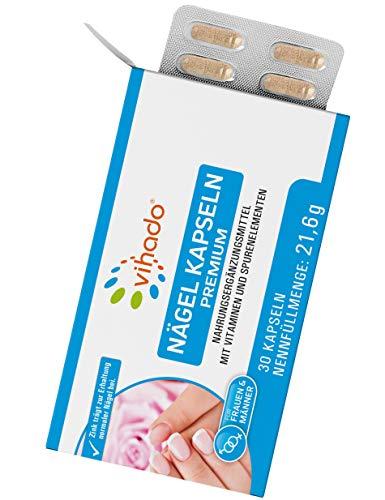 Vihado Nägel Kapseln Premium – Nagelpflege von innen mit Biotin Zink Selen sowie Kupfer und Vitamin C – Nahrungsergänzungsmittel mit Vitaminen und Spurenelementen – 30 Kapseln