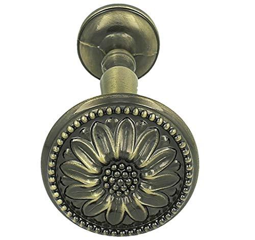 Sento 1x Raffhalter für Gardinen Blume Messing Antik Metall Raffbügel Schalhalter