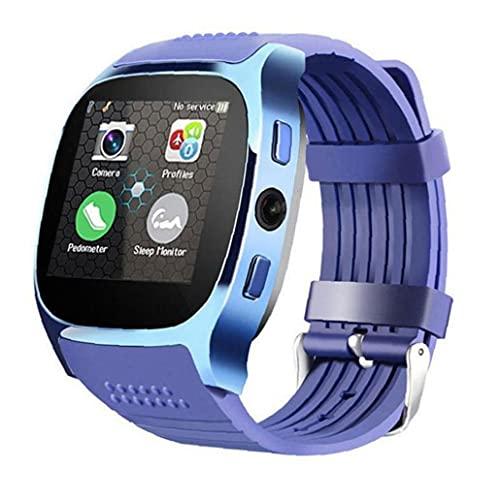 Smart Watch Smart Watch con la cámara Bluetooth Smart Band Support Sim TF Card Call Sports Podómetro para teléfono azul