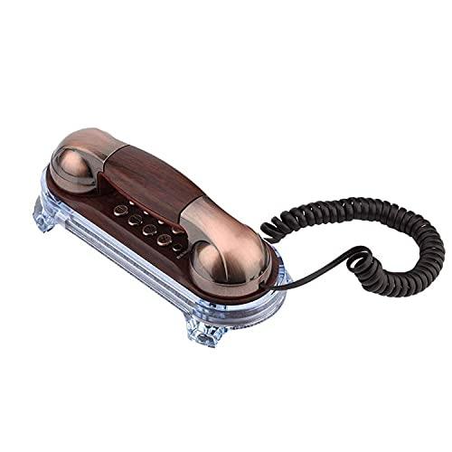AXAXA Teléfono Antiguo de la Vendimia Retro Pasado de Moda con el dial del botón para la decoración del hogar Antiguo teléfono Retro montado en la Pared Teléfono con Cable