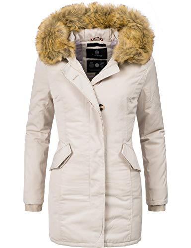 Marikoo Damen Winter Mantel Winterparka Karmaa Creme Off White Gr. XS