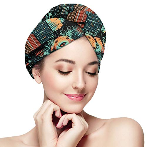 The End of The World Dark Urban War Dry Hair Cap Microfibre Hair Towel Wraps Ultra Absorbent Quick Dry Twist Turban with Button for Drying Curly Long Thick Hair 11 inch X 28 inch