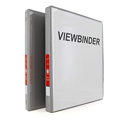 """Emraw Super Great 1/2"""" 3-Ring View Binder with 2-Pockets - Available in Grey - Great for School, Home, & Office (2-Pack)"""