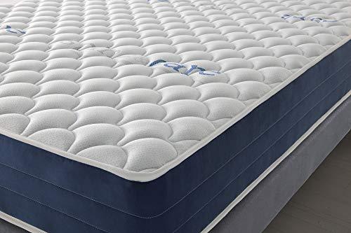 Colchón Reversible 150x200 cm Real Confort   Altura +/- 25 cm   Doble Cara Invierno/Verano con Sistema Visco Soft Adaptable   Alta Densidad   Sistema multicapas   9 Zonas de Descanso