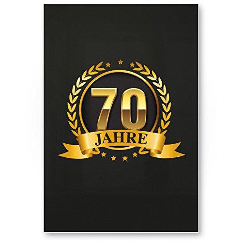Bedankt! 70 jaar goud, plastic bord - cadeau 70 verjaardag, cadeau-idee verjaardagscadeau zevenigste, verjaardagsdeco/party accessoires/verjaardagskaart