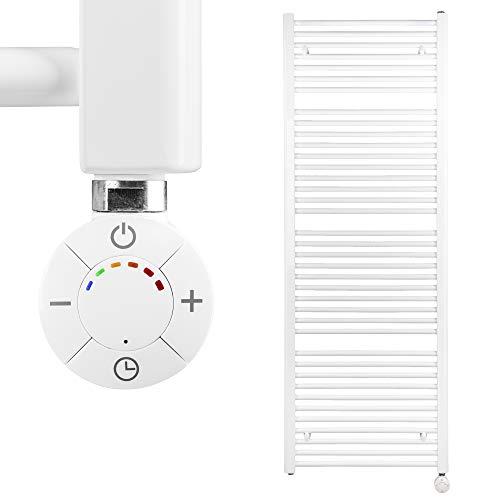 HEATSUPPLY® Badheizkörper elektrisch 1.662 x 600mm Handtuchheizkörper 900 Watt Handtuchtrockner weiß inkl. Heizstab Smart Thermostat