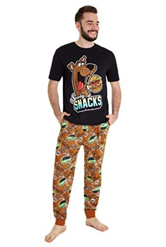 Scooby Doo Pijama Hombre, Pijama Hombre Invierno Divertido 100% Algodon, Conjunto de 2 Piezas, Regalos Originales para Hombre y Adolescente Talla S-2XL (Negro, M)