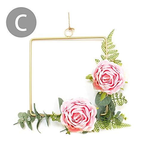 Hängende Dekoration aus Metall mit Künstliche Blumen,Künstliche Blume Runder Metallring Wandkranz für Geburtstag Hochzeit Party Wohnaccessoires Deko