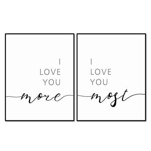 I Love You More I Love You Most Wall Decor, Above Bed Quote, Romantic Print, Bedroom Wall Art, Nursery Wall Decor, 11x14 inches, Set of 2 - Unframed
