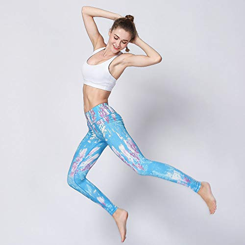 Sunofbeach Gedrukte Yoga Broek Voor Vrouwen - Hoge Taille Compressie Atletische Sport Workout Running Power Flex Stretch Yoga Broek Leggings Tight Pant Extra Lang, Aquarel Paars Blauw