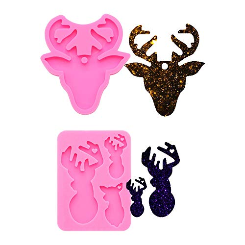 2 PCS Glossy Shiny Deer Elk Family Dad Mother Baby Wapiti Animal Head Keyring Keychain with Hole Silicone Mold for DIY Fondant Trinket Gum Candy Jelly Shots Luggage Tag Crystal Earrings Pendant