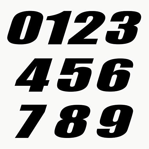 Autodomy Confezione Adesivi Numeri Moto Motocross 10 Pezzi per Moto (Nero)