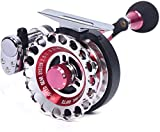 Left Hand Fly Fishing Reel, Aluminum Alloy Rafting Fly-Fishing Wheel 2.6:1 Automatic Wire Spread Hollowed Wire Cup Fly Wheel, Red
