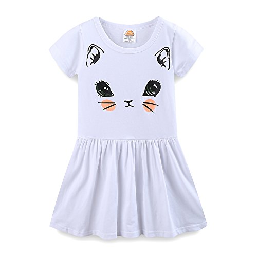 LittleSpring 夏 キッズ 女の子 ワンピース 半袖Tシャツ フレアスカート 切り替え 子供ドレス aライン かわいい 猫ちゃん プリント 白2 140