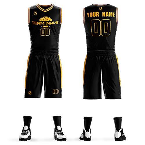 Custom Basketball Jersey and Short - Men Jersey Shirts Basketball - Customize Jersey for Men(Black00061-04,Men: 2XL)
