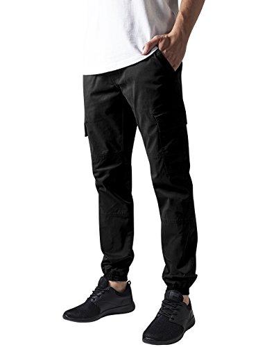 Urban Classics Herren und Jungen Cargohose Washed Cargo Twill Jogging Pants, Rangerhose mit aufgesetzten Seitentaschen, black, Größe W32