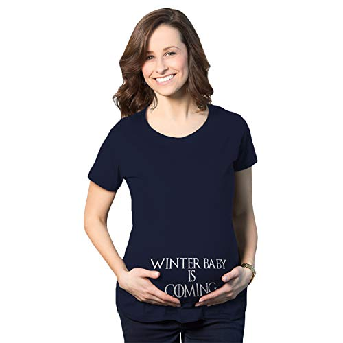 Crazy Dog Tshirts - Maternity Winter Baby is Coming T Shirt Geeky Novelty Pregnancy Tee (Navy) - M - Damen - M