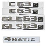 YUYANGBIN Cartas de cromo planas Número Tronco Emblema emblemas Insignias FIT FOR MERCEDES BENZ AMG C63 C63S E63S S63 S CLS63S GLE63S GLS63S 4MATIC Calcomanías pegatinas e imanes ( Style : E 63s )