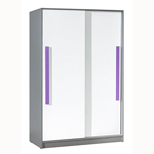 Mirjan24 Schwebetürenschrank Git G13, Elegantes Kleiderschrank mit Kleiderstange, Aluminium-Gleitschienen, Farbauswahl Schrank für Jugendzimmer (Anthrazit/Weiß + Lila)