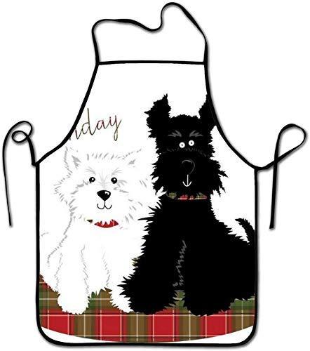 N\A Tablier de Zoo Happy-Birthday-Black-and-White-Dogs, Image de thème d'animaux colorés, Tablier de Bavoir de Cuisine Unisexe avec pour Faire Cuire Cuisson Jardinage