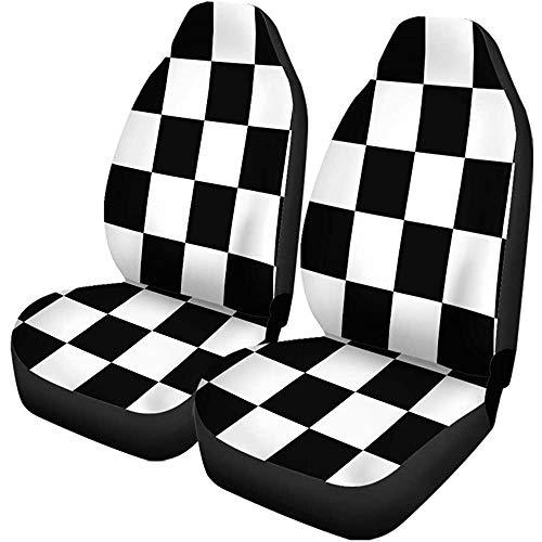 Enoqunt Autostoelhoezen, schaakplank, in zwart en wit, geruit, set met 2 beschermers, universele pasvorm voor auto-UV