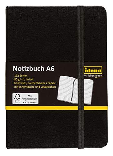 Idena 209285 - Notizbuch DIN A6, FSC-Mix, liniert, Papier cremefarben, 192 Seiten, 80 g/m², Hardcover in schwarz, 1 Stück