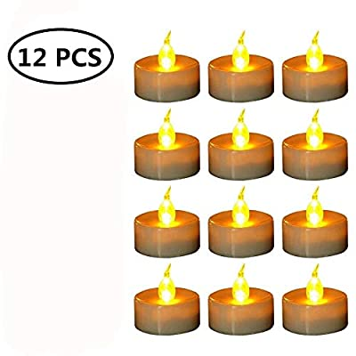 12 Piece Yellow Light Flickering Flameless LED Candles with Battery Tea Lights for Decoration All Party ,Christmas Decoration