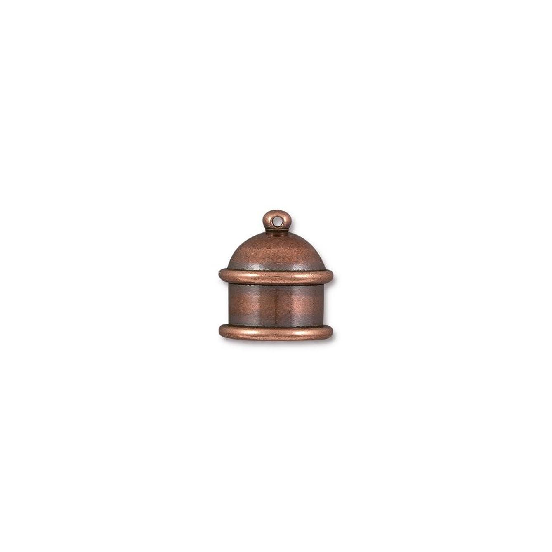 TierraCast Cord End Pagoda Beads, 10mm Inner Diameter/15mm, Antique Copper