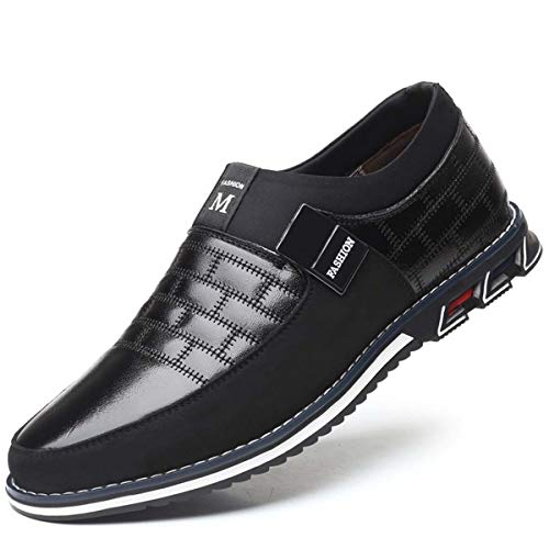 New Big Size 38-48 Oxfords Leather Men Shoes Fashion Casual Slip On Formal Business Wedding Dress Shoesping Black 8.5