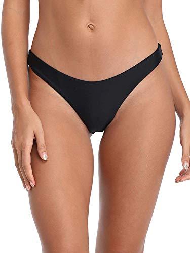 Ocean Blues Women's Cheeky Bikini Bottom Black Size Medium