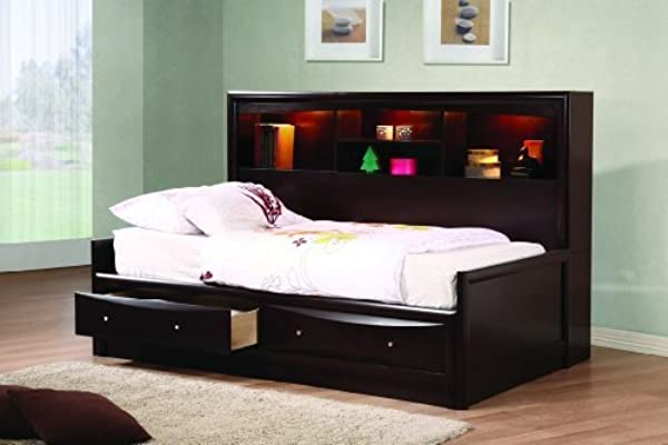 Coaster Home Furnishings 400410T Phoenix Daybed With Bookcase And Storage Drawers Cappuccino Twin