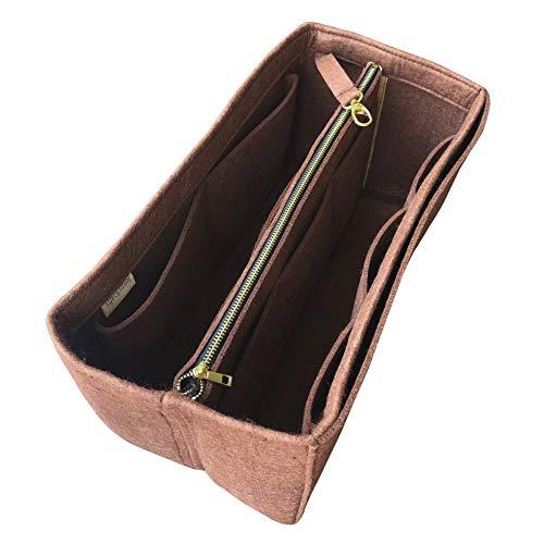 JennyKrafts Geldbeutel-Einsatz (3 mm Filz, Abnehmbarer Beutel mit Metall-Gold-Reißverschluss), Tragetaschen-Organizer