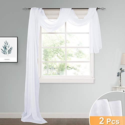 RYB HOME Decor Semi Sheer Valance Window Scarf for Bedroom Canopy Curtains, White Sheer Voile Linen Look Curtain Swags for Wedding/Living Room, Wide 60 x Long 216 Each, 2 Panels