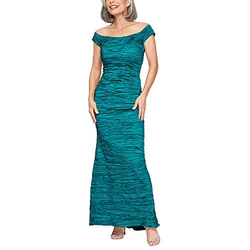 Alex Evenings Women's Long Fitted Off The Shoulder Dress, Teal, 6